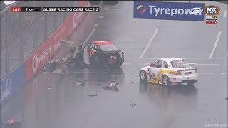 Aussie Racing Cars Championship 2017. Race 2 Surfers Paradise Street Circuit. Restart Big Crash