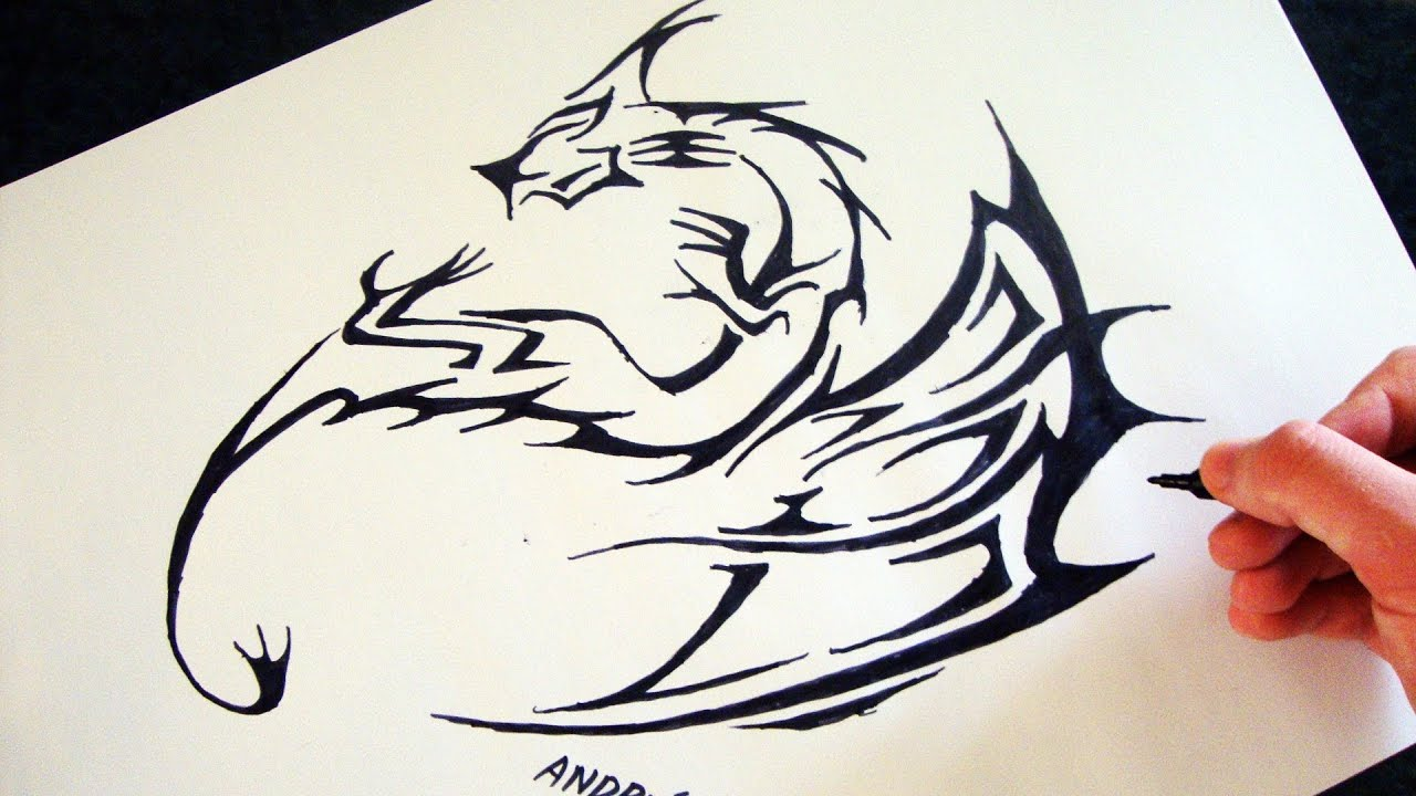 Como Desenhar Um Dragao Tribal How To Draw Tribal Dragon