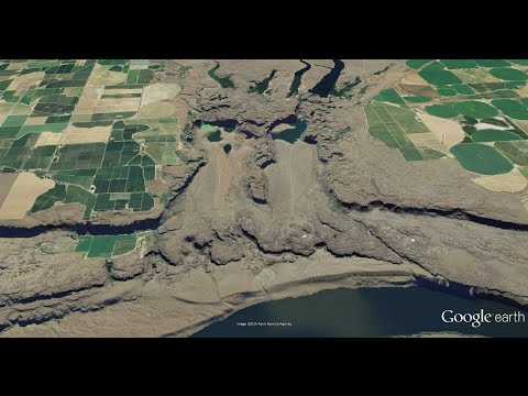 Potholes Coulee Cataracts looping fly-over with Channeled Scablands of eastern Washington