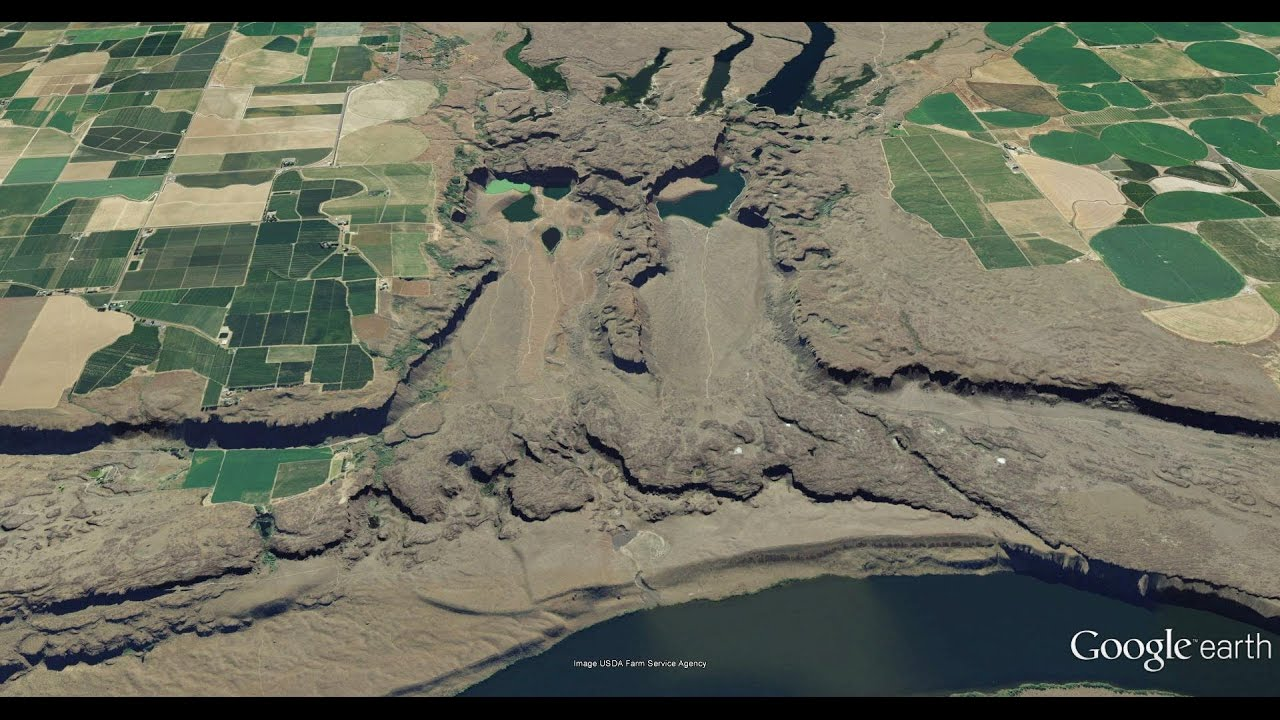 Scablands Washington Map.Potholes Coulee Cataracts Looping Fly Over With Channeled Scablands