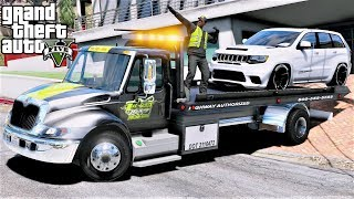 GTA 5 Real Life Mod #101 Repoing A Jeep Demon Hawk With A Durastar Rollback Tow Truck - Repo Mod