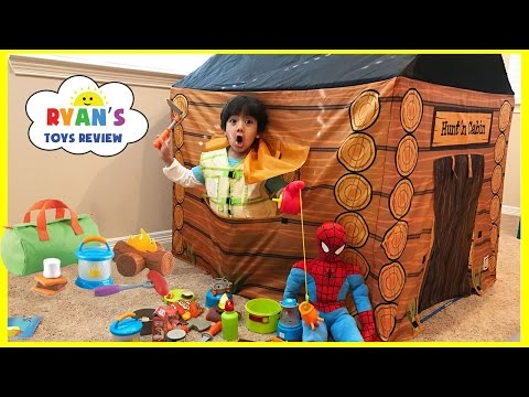 Pretend Play Food Toy Camping & Fishing! Fun Activities for Kids! Cooking Kinder Egg Surprise Toys