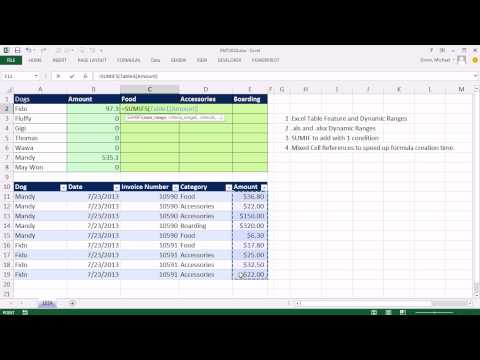 Excel Magic Trick 1024: SUMIF & SUMIFS function & Mixed Cell References & Dynamic Table Range