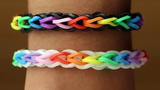 Rainbow Loom English - DOUBLE CROSS SINGLE - Loom Bands, easy, how to, DIY