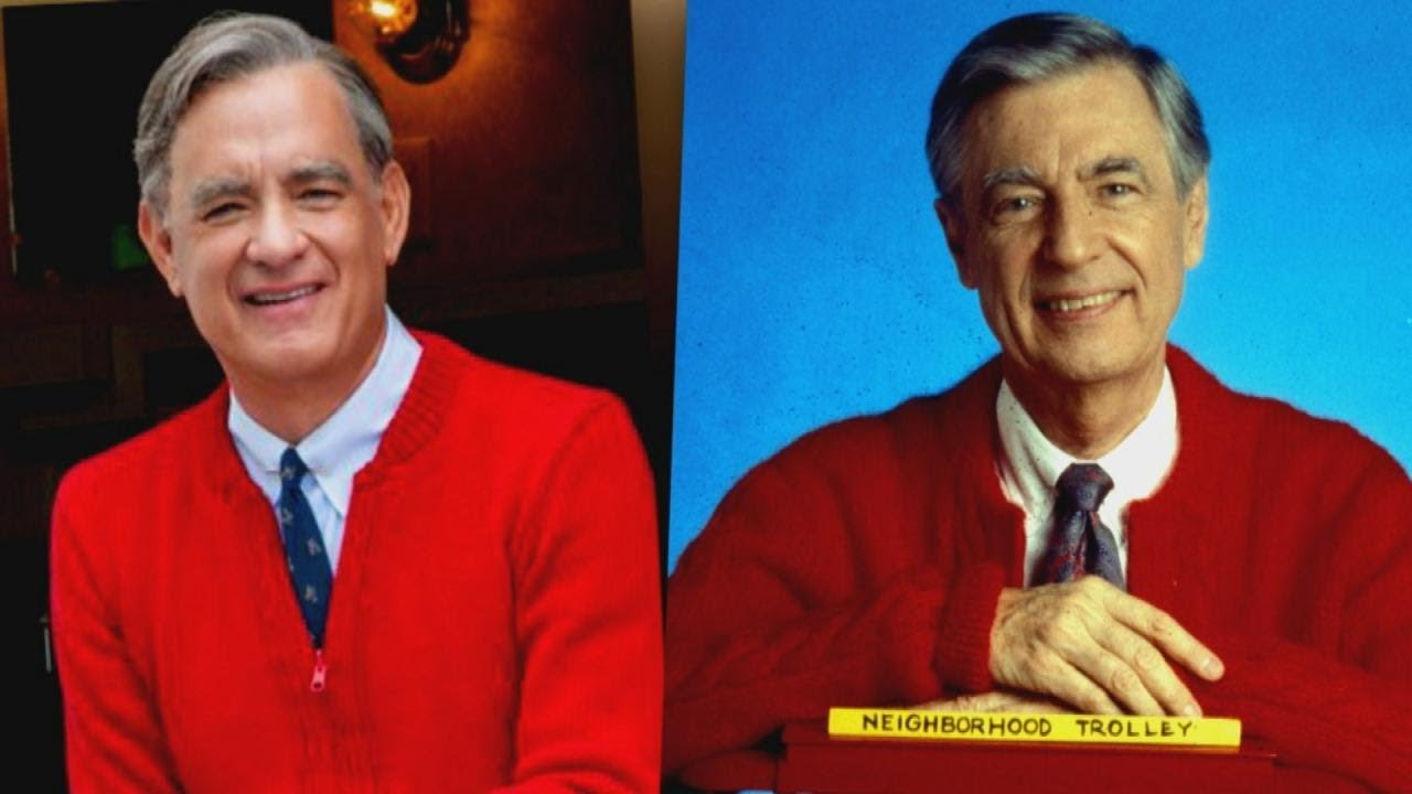 "Tom Hanks puts on Mr. Rogers' signature cardigan for ""A Beautiful Day in the Neighborhood"""