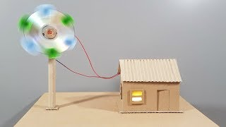 How To Make Working Model Of Wind Turbine To Power Cardboard House | DIY Project