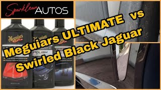 Meguiars ULTIMATE Compound vs Swirled Black Jaguar Paint #Meguiars #Jaguar #swirls