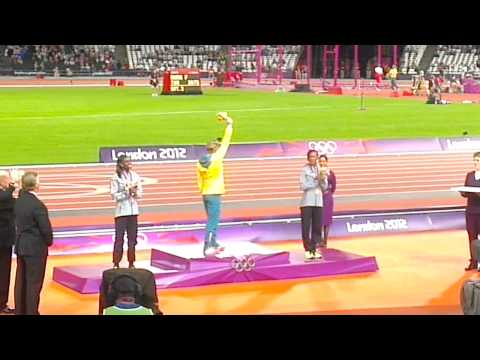 Sally Pearson Ladies 100m hurdles medal ceremony
