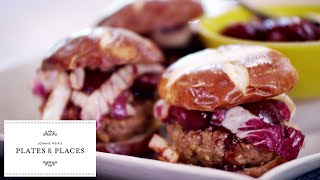 Grilled Pretzel Burger with Cherry Barbecue Sauce | Joanne Weir's Plates and Places | KQED