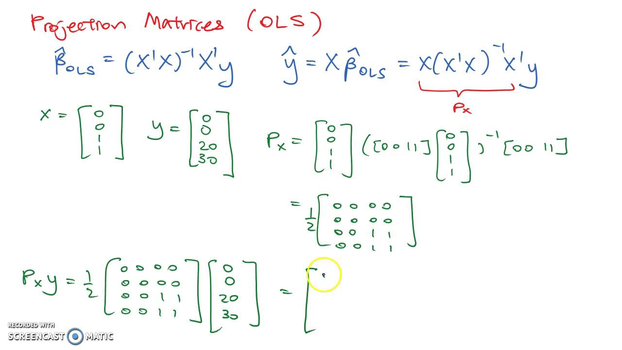 Projection Matrices Ols Youtube