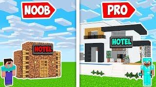 Minecraft HOTEL BASE CRAFT CHALLENGE in Noob vs Pro Animation