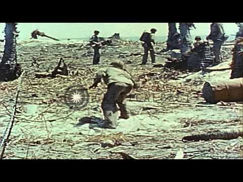 Battlefield scenes of US Marines combating Japanese forces on Eniwetok Island dur...HD Stock Footage