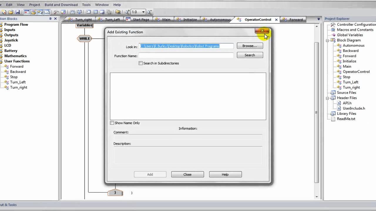 Easyc Tutorial Vex Robotics Programming User Functions Youtube