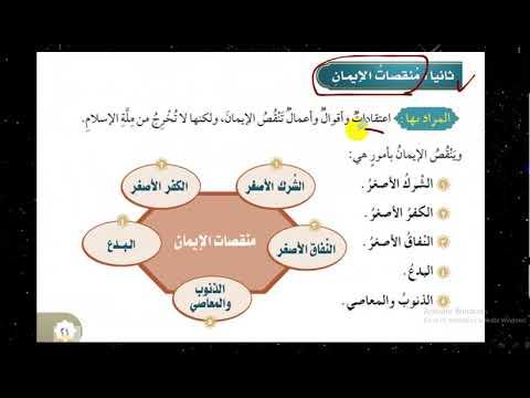 نواقض الإيمان ومنقصاته الدرس الثالث توحيد سادس 6ب ف1 شرح مبسط وسهل Youtube