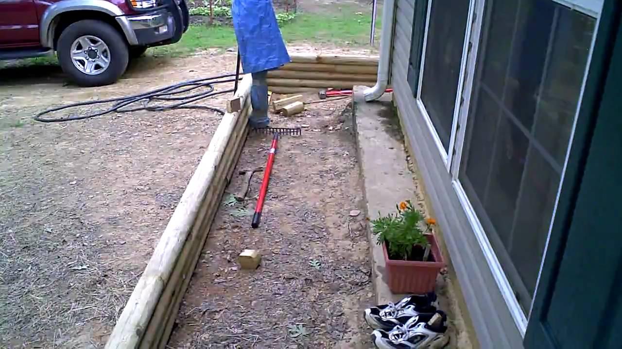 landscape timber installation progress