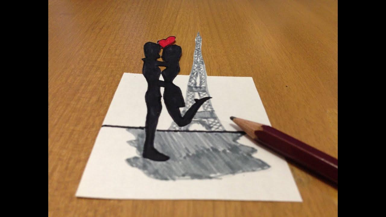 3d romantic love in paris trick art drawing