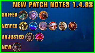 NEW PATCH NOTES 1.4.98 | PROTTI | MAGIC CHESS | ADVANCED SERVER NEW UPDATE | MOBILE LEGENDS