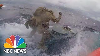 Watch: U.S. Coast Guard Crew Leaps Onto Drug Smuggling Vessel | NBC News