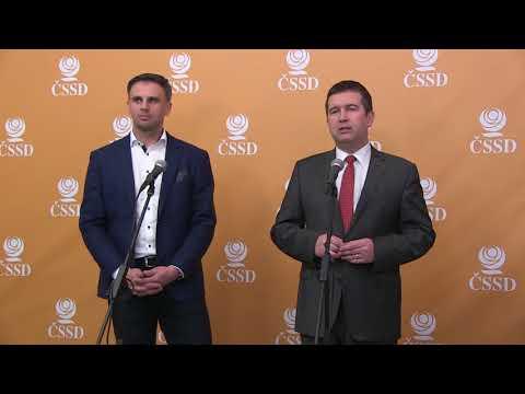 Tisková konference po zvolení nového předsedy a prvního místopředsedy ČSSD