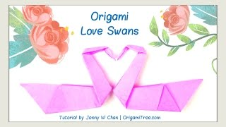 Valentine's Day Crafts - Origami Swan - Love Birds - Origami Bird - Easy Paper Crafts Kids Classroom