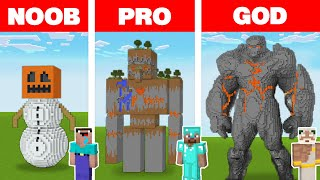 Minecraft NOOB vs PRO vs GOD: GOLEM STATUE HOUSE BUILD CHALLENGE in Minecraft Animation