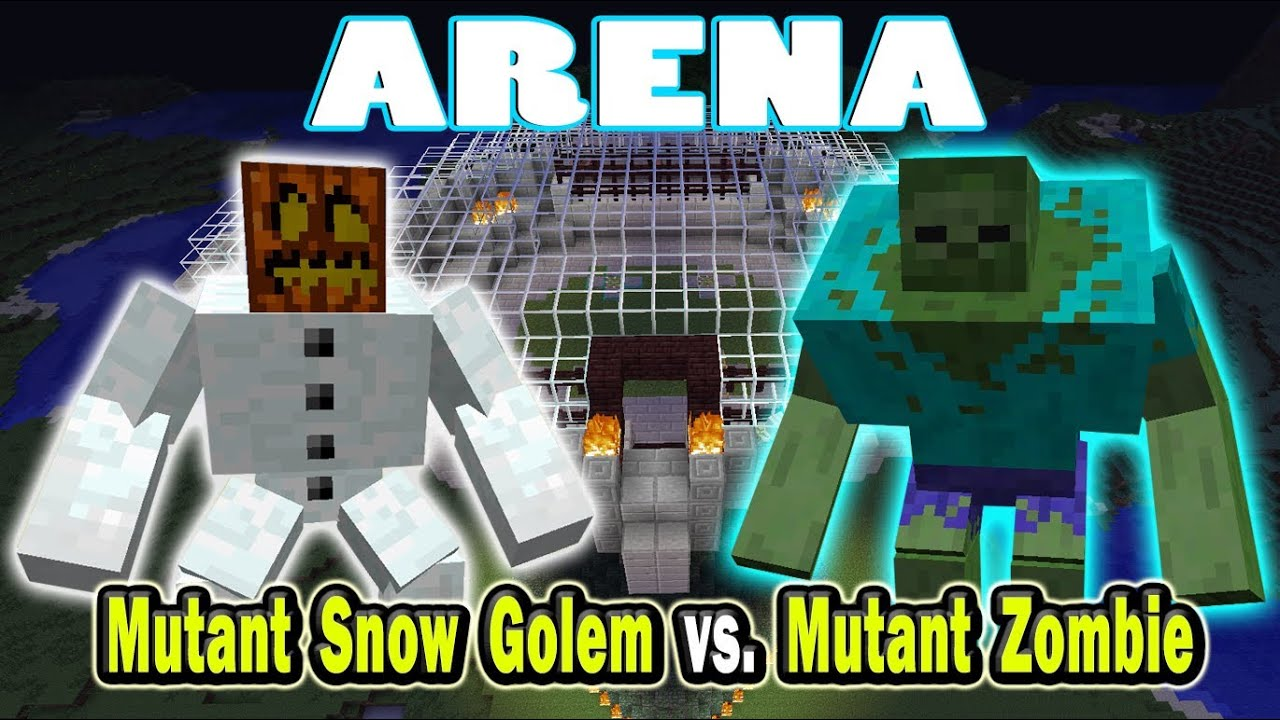 Minecraft Arena Battle Mutant Snow Golem Vs Mutant Zombie