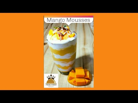 Mango Mousses | Eggless, Easy Mango Mousses | 4 Ingredients