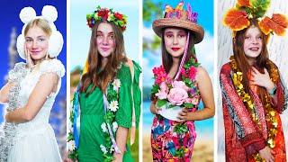 فتاة الشتاء ، فتاة الربيع ، فتاة الصيف وفتاة الخريف! أربعة مواسم في المدرسة!