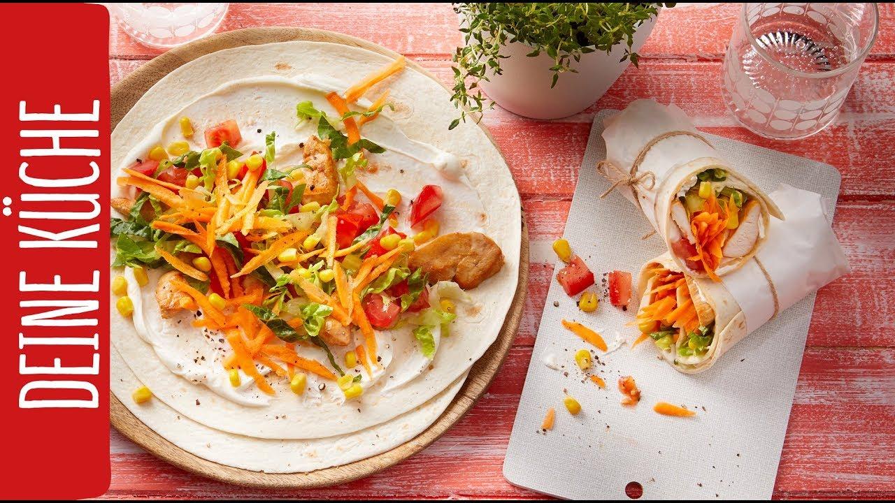 Schneller Hähnchen-Wrap mit buntem Gemüse | REWE Deine Küche - YouTube