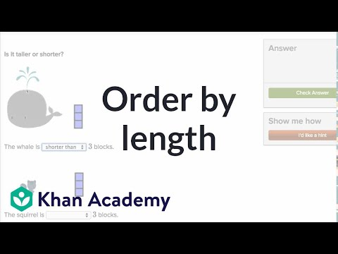 Order By Length | Measurement And Data | Early Math | Khan Academy