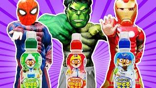 뽀로로 색깔 음료수를 마시면 슈퍼 히어로로 변신한대요!! learn colors with Pororo drinks for kids