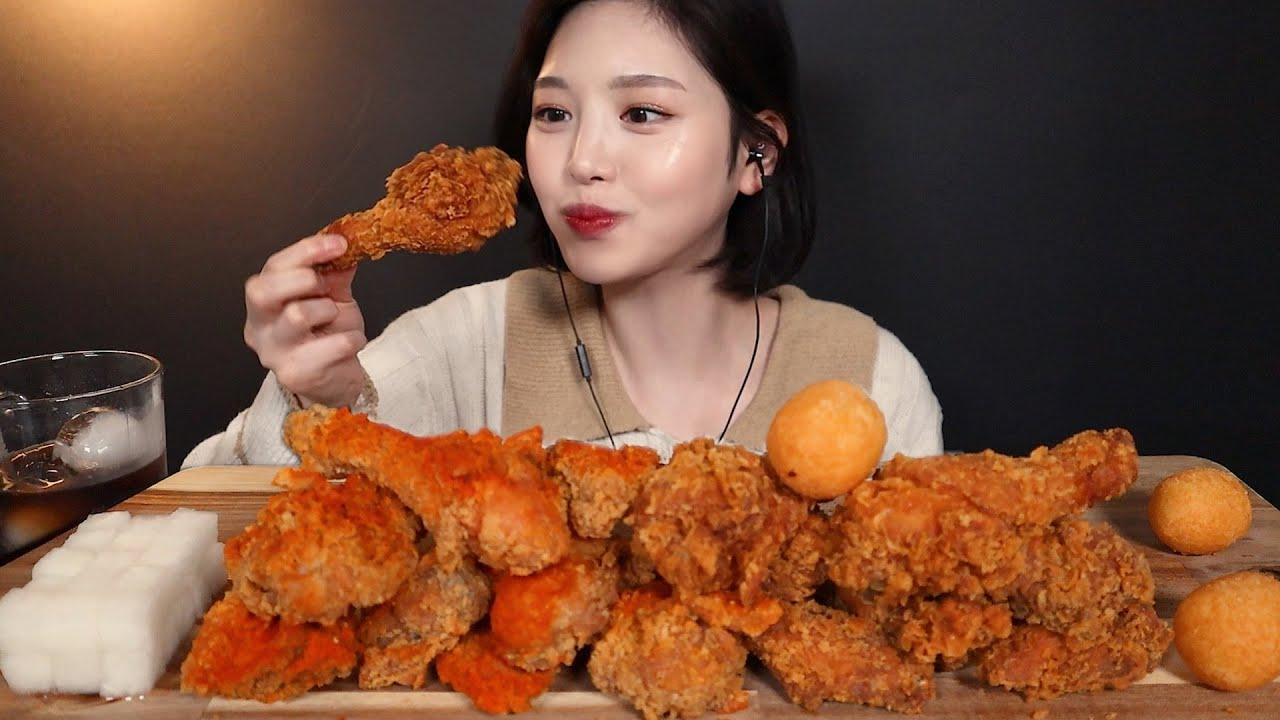 SUB[광고]바삭끝판왕 ! BBQ 핫황금올리브 후라이드 레드착착치킨 먹방🍗 치즈볼까지 리얼사운드 spicy fried chicken cheeseball mukbang ASMR