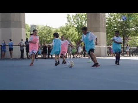 Soccer Bloc camp: Bringing water-based soccer curriculum to local youth Xylem employee and valued partner volunteers, Wallace Eannace and GA Fleet, jo...