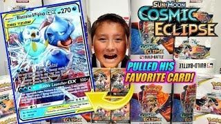 ETHAN MONSTER PULLS HIS FAVORITE NEW POKEMON CARD BLASTOISE! BEST COSMIC ECLIPSE BOX PULL REACTION!