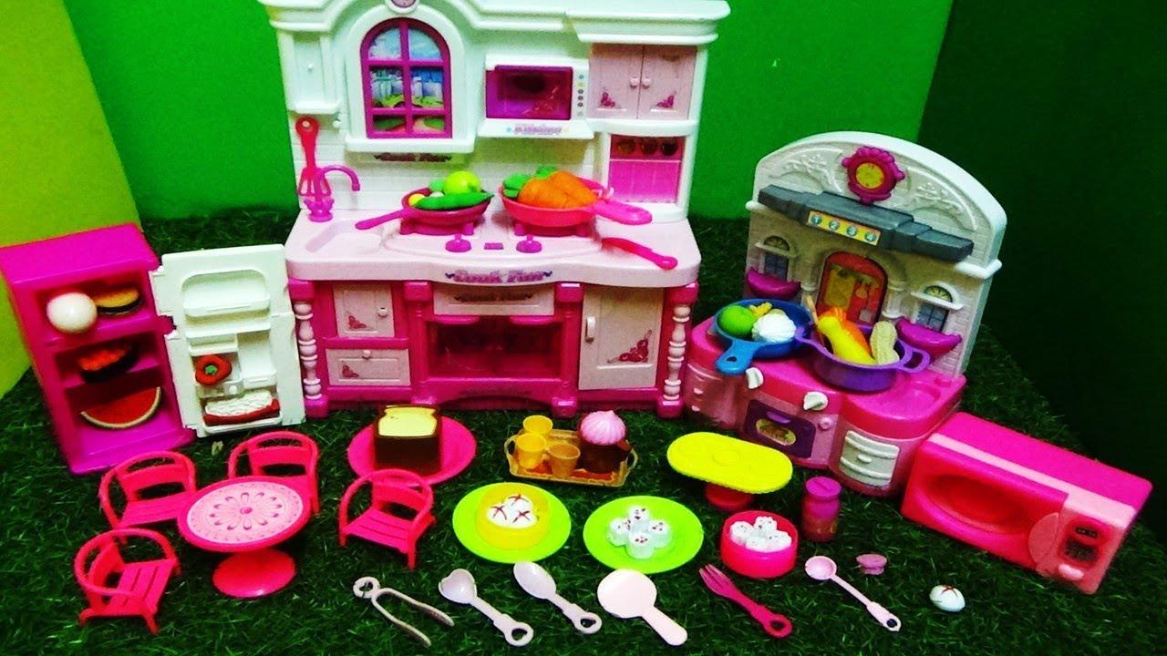 Barbie Doll Pink Kitchen Set With Mini Dining Set Fridge Microwave