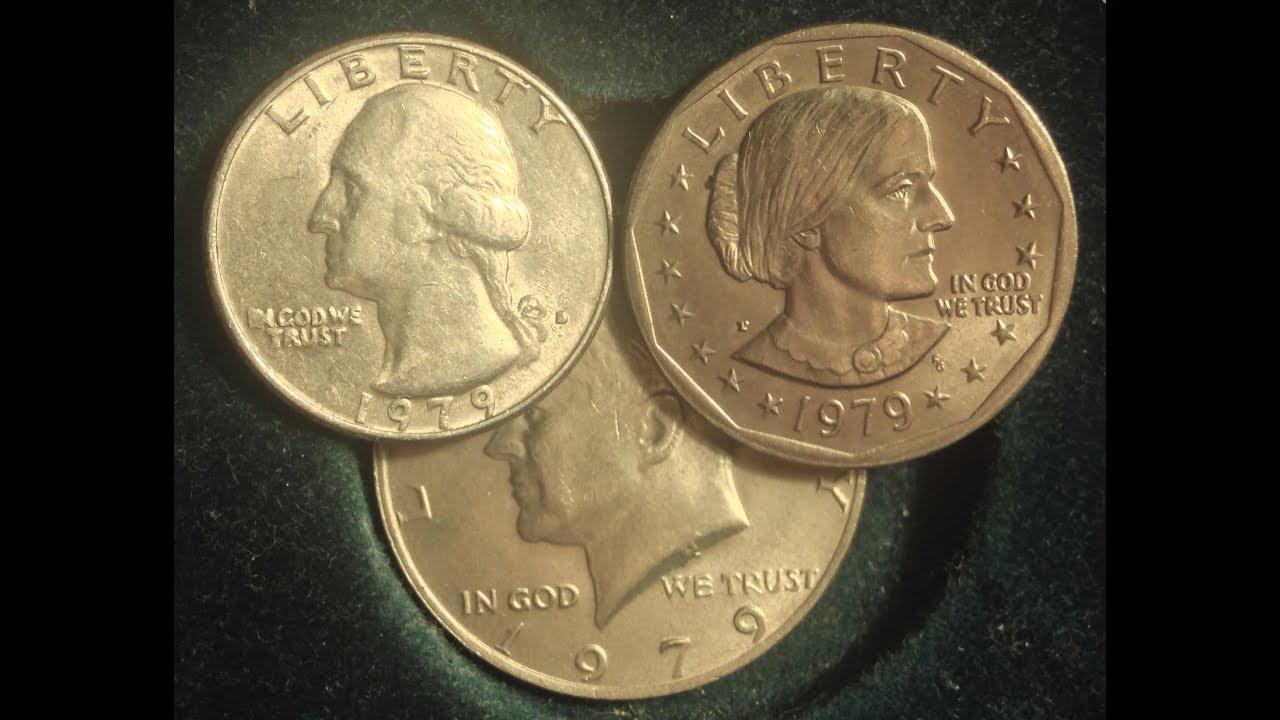 1979 Copper Nickel Clad Trio Of Washington Quarter, Kennedy Half Dollar,  Susan B  Anthony Dollar