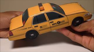JCARWIL PAPERCRAFT 2011 Ford Crown Victoria NYC Taxi Police Car