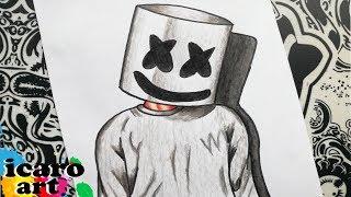 como dibujar a marshmello | how to draw marshmallow | como desenhar o dj marshmello