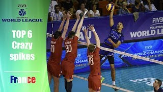 TOP 6 - Crazy Spikes by Stephen Boyer | FIVB World League 2017 | France - Brasil