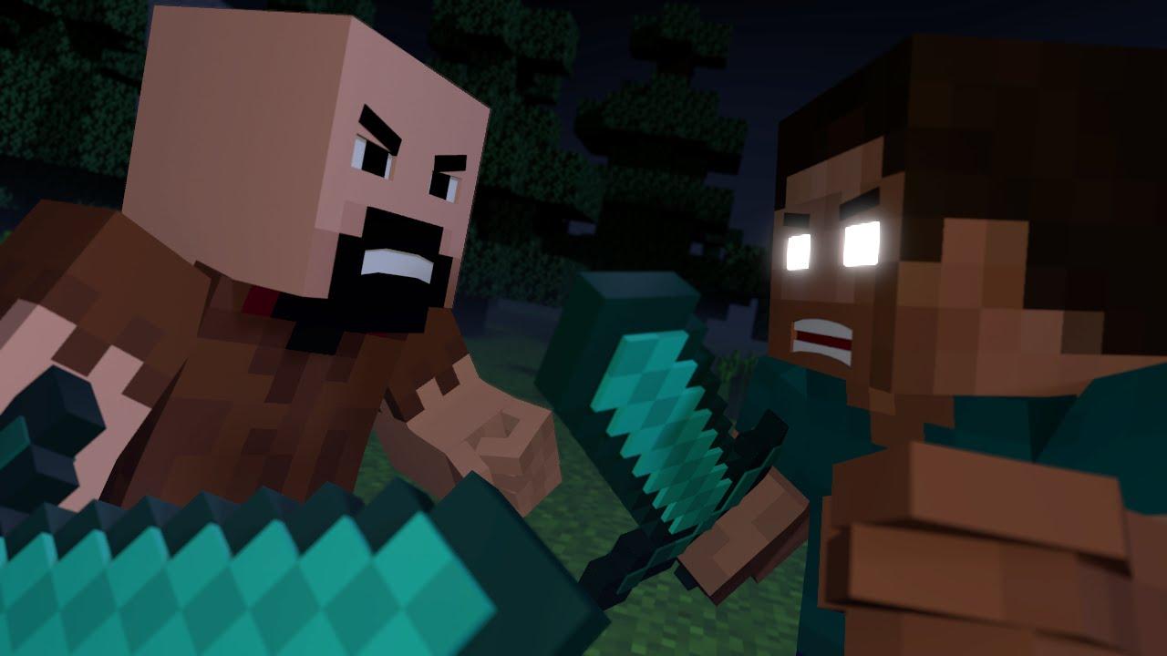 Notch Vs Herobrine Minecraft Fight Animation The Angels