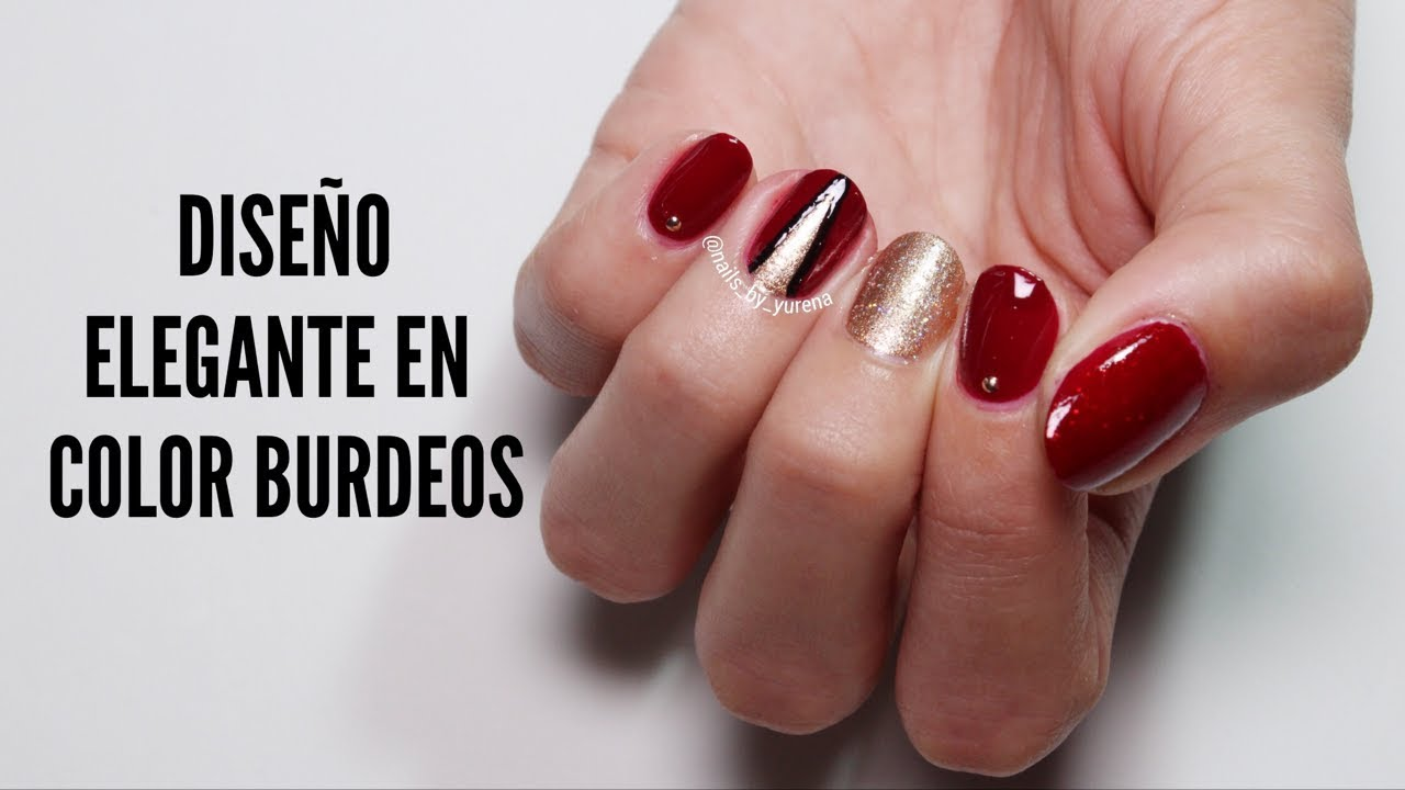 Diseño De Uñas En Color Burdeos Dorado Y Negro Youtube