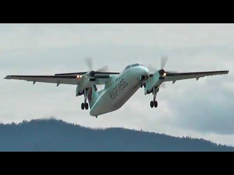 Air Canada Express Dash 8-100 takeoff from Castlegar, British Columbia CYCG