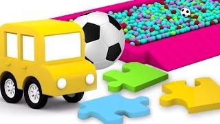 Развивающие 3D мультики. 4 МАШИНКИ мост из пазлов. Мультфильмы для детей.