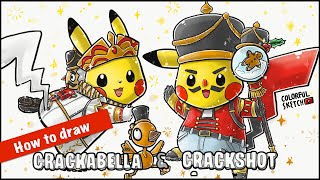 Fortnite Crackabella & Crackshot + Pikachu | Fortnite Pokemon Mashup Drawing | How to draw Fortnite