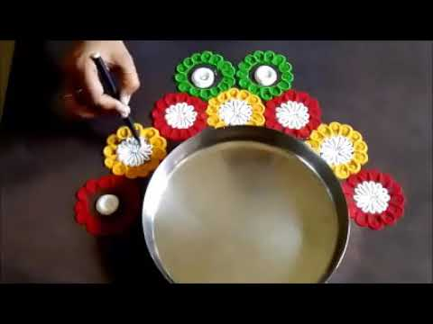 Super Easy and Quick Rangoli Designs around the Plate  Creative Rangoli by Shital Mahajan