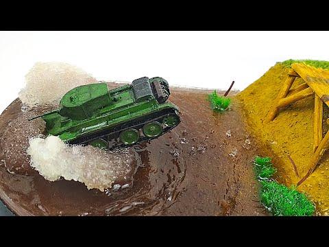 Танк БТ-5.ДИОРАМА прыгающего танка.КАК сделать ДИОРАМУ своими руками