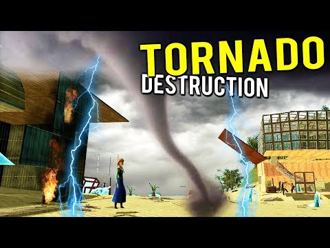 ISLAND VILLAGE DESTROYED BY TORNADO RESEARCH TESTING! - Gmod Garry's Mod Multiplayer