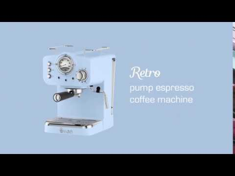 Brand New Swan SK22110BLN Retro Pump Espresso Coffee Machine In Blue