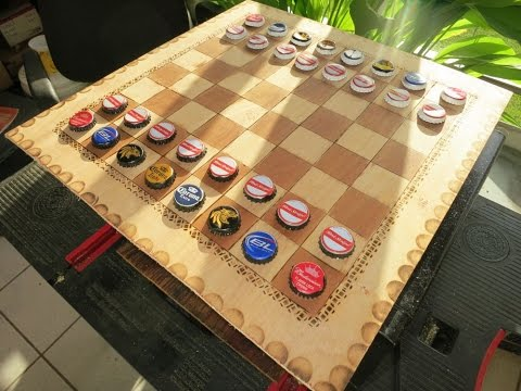 DIY Beer cap & wood burner chessboard