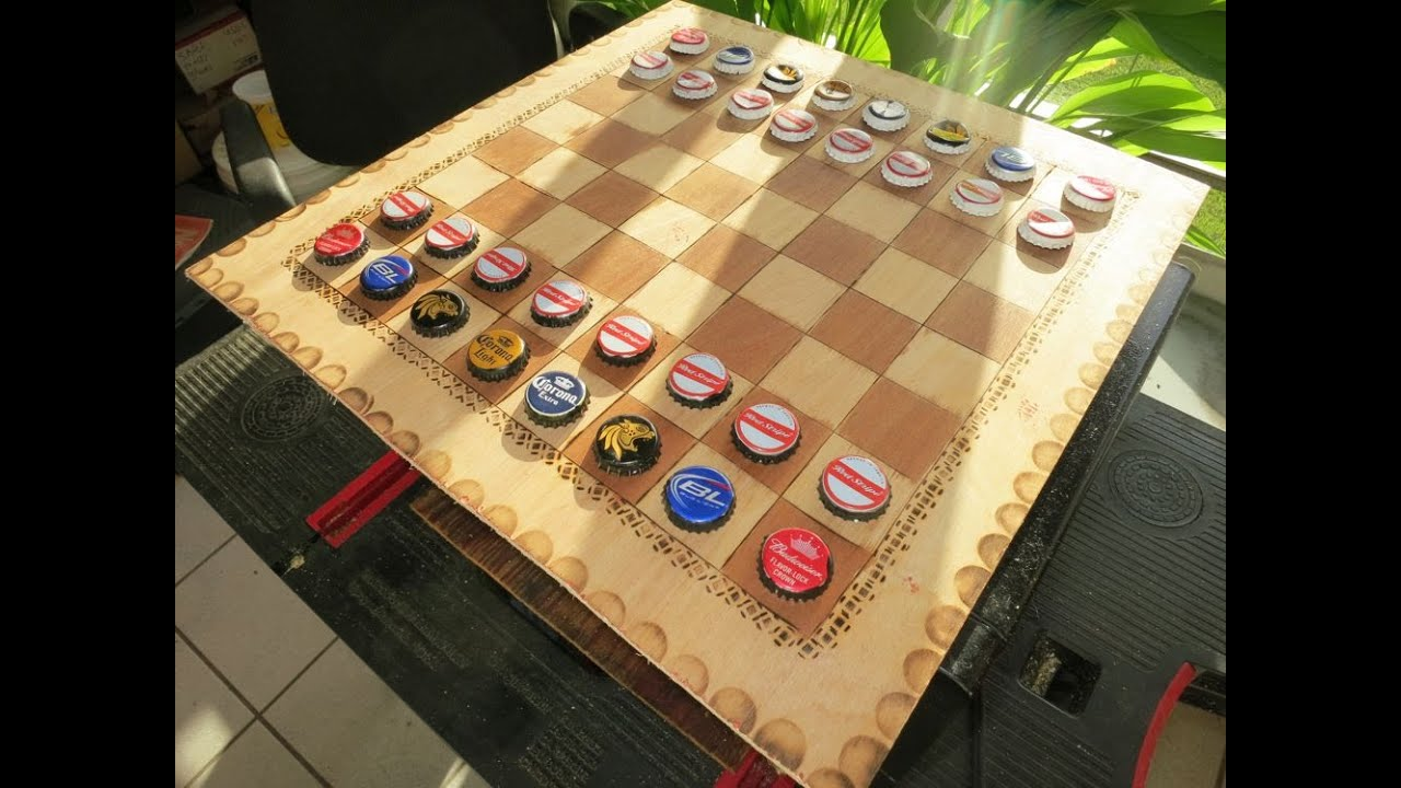 DIY Beer Cap U0026 Wood Burner Chessboard